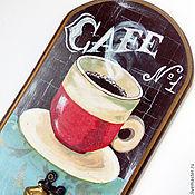 """Для дома и интерьера ручной работы. Ярмарка Мастеров - ручная работа Вешалка """"The aroma of coffee"""", роспись акрилом. Handmade."""
