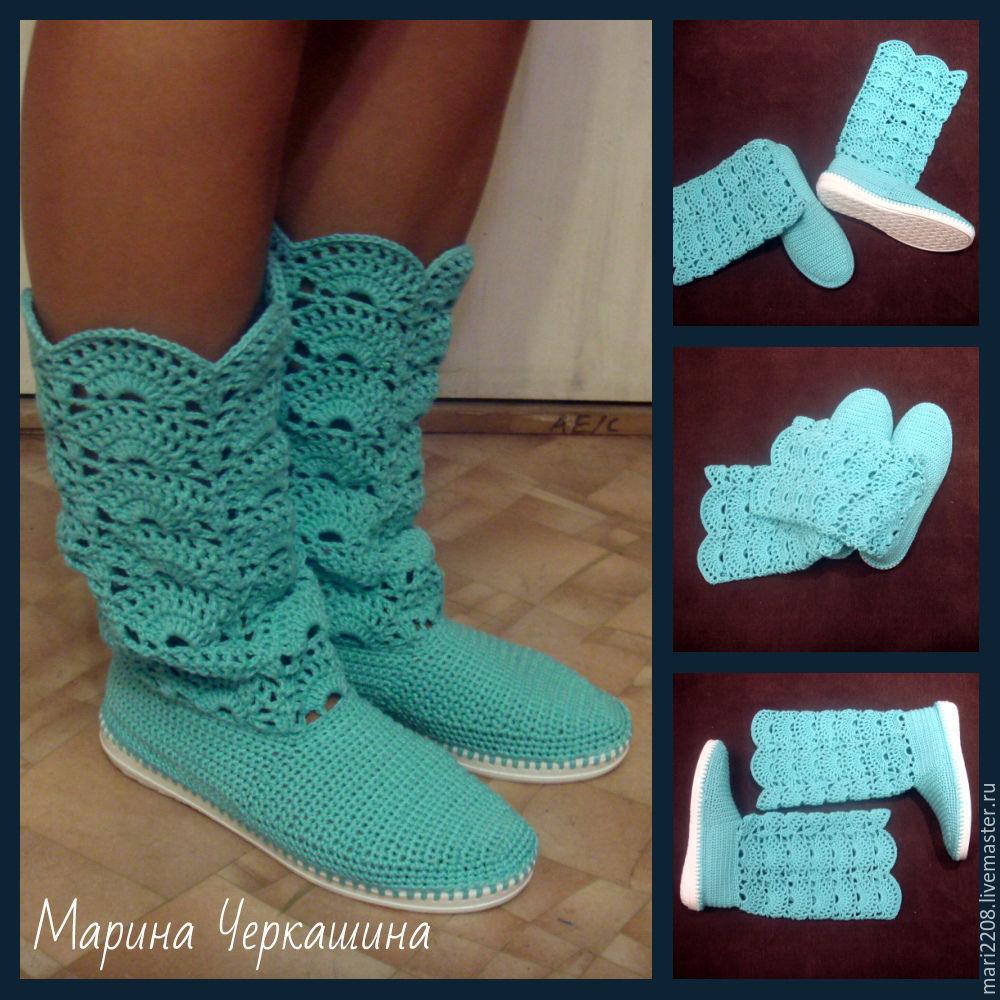 вязание крючком схемы обуви