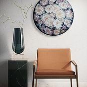 Картины и панно handmade. Livemaster - original item White flowers-round painting 50 cm Resin, oil.. Handmade.