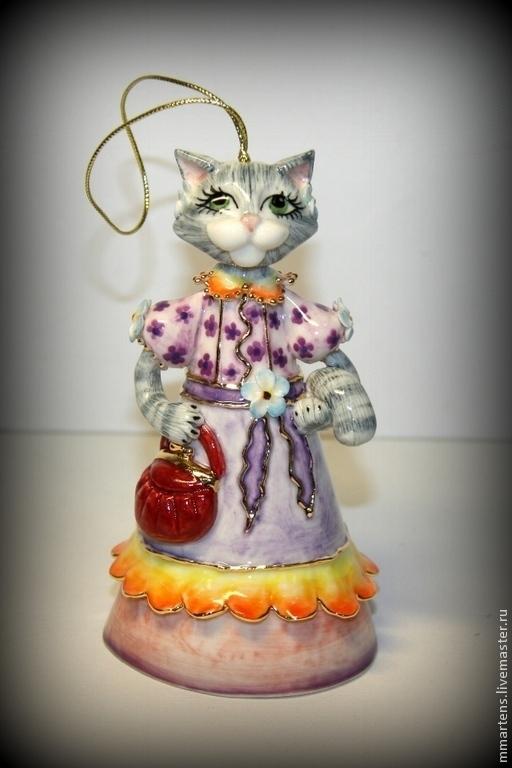 """Колокольчики ручной работы. Ярмарка Мастеров - ручная работа. Купить Колокольчик фарфоровый """"Кошка"""". Handmade. Колокольчик, подарок, роспись"""