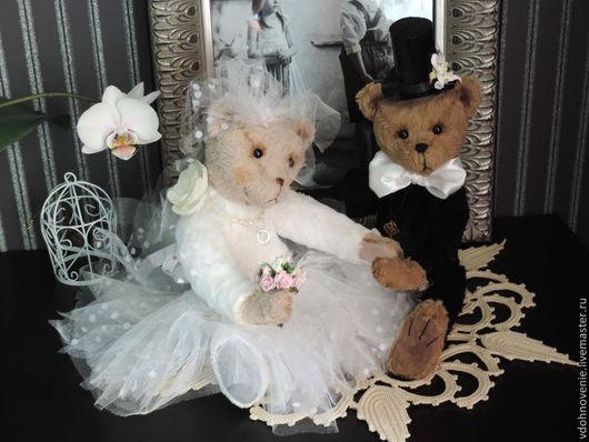 Мишки Тедди ручной работы. Ярмарка Мастеров - ручная работа. Купить Джинни и Джек - вместе навсегда. Handmade. Чёрно-белый