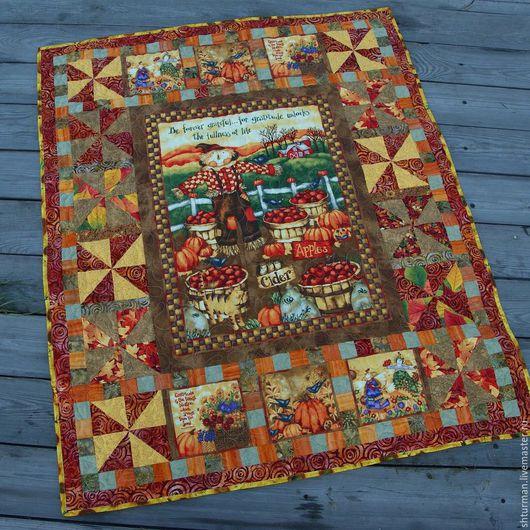 """Пледы и одеяла ручной работы. Ярмарка Мастеров - ручная работа. Купить Лоскутное одеяло """"Хранитель урожая"""". Handmade. Рыжий"""