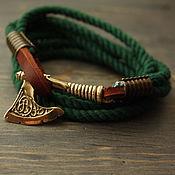 handmade. Livemaster - original item Bracelet with axe ,cotton bracelet ,men bracelet ,bracelet Viking. Handmade.