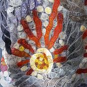 """Аксессуары ручной работы. Ярмарка Мастеров - ручная работа """"Солнцеворот"""" палантин тонкий валяный. Handmade."""