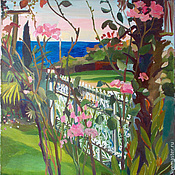 Картины и панно handmade. Livemaster - original item Picture. Abkhazia. Roses and the sea. Handmade.