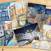 Открытки handmade. Livemaster - original item City Postcards set of 7 PCs Linen paper. Handmade.