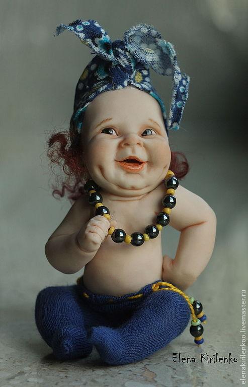 Коллекционные куклы ручной работы. Ярмарка Мастеров - ручная работа. Купить Барыня. Handmade. Тёмно-синий, бусы, краски масляные