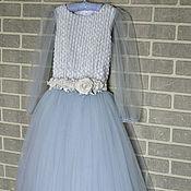 Работы для детей, handmade. Livemaster - original item Floor-length dress is made of tulle with a fluffy skirt for girls 6. Handmade.
