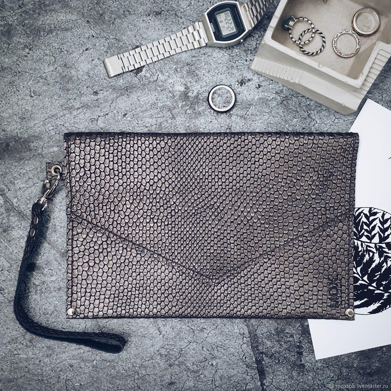 Женские сумки ручной работы. Ярмарка Мастеров - ручная работа. Купить Клатч из кожи Just серебряный. Handmade. Клатч, металлик