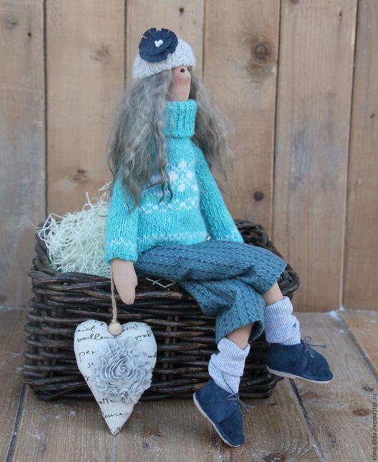 Куклы Тильды ручной работы. Ярмарка Мастеров - ручная работа. Купить Тильда в бирюзовом свитере.. Handmade. Бирюзовый, элина шишкина