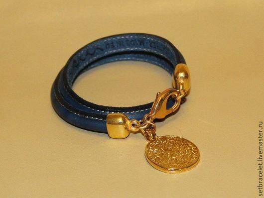 Браслеты ручной работы. Ярмарка Мастеров - ручная работа. Купить Кожаный браслет из кожи темно-синей шнур фестский диск. Handmade.