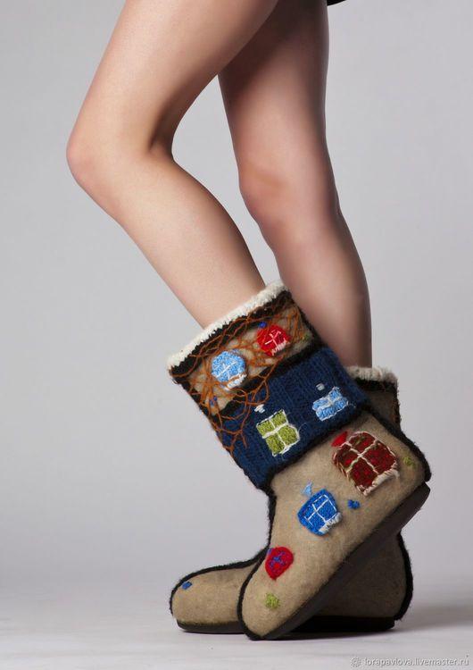 Handmade Shoes handmade. Livemaster - handmade. Buy 'Hundertwasserhaus'.Original gift, warm shoes, women's shoes