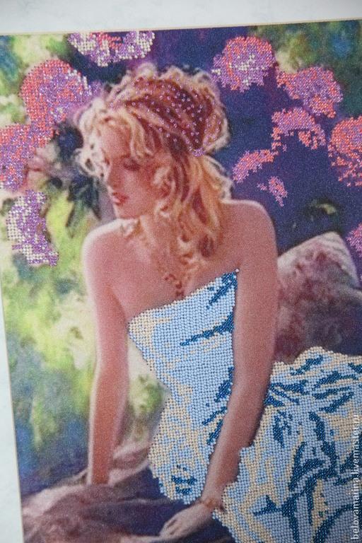 """Люди, ручной работы. Ярмарка Мастеров - ручная работа. Купить Картина бисером """"Голубые мечты"""". Handmade. Сиреневый, девушка, платье"""