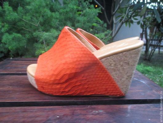 Обувь ручной работы. Ярмарка Мастеров - ручная работа. Купить Cабо мандариновые. Handmade. Рыжий, сабо, босоножки из питона