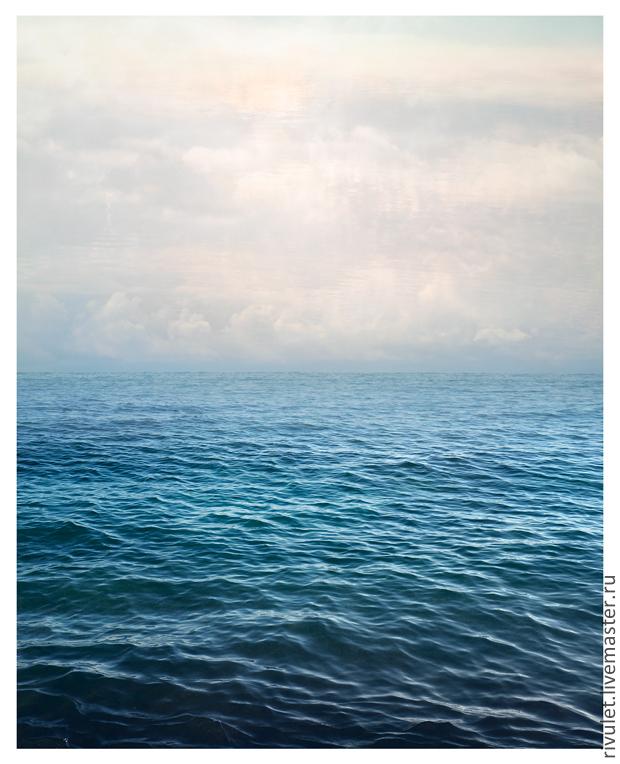 Авторская фотокартина море для интерьера  - абстрактный морской пейзаж с водой и небом © «Белые морские облака», Елена Ануфриева