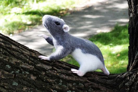 Игрушки животные, ручной работы. Ярмарка Мастеров - ручная работа. Купить Интерьерная валяная игрушка Декоративная крыса (игрушка из войлока). Handmade.