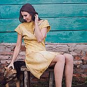 Одежда handmade. Livemaster - original item Felted dress Mustard. Handmade.