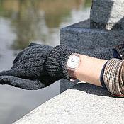 Аксессуары ручной работы. Ярмарка Мастеров - ручная работа Перчатки вязаные женские длинные серые (часы, черный, темный). Handmade.