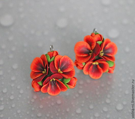 """Серьги ручной работы. Ярмарка Мастеров - ручная работа. Купить """"Рыжая"""" серьги. Handmade. Рыжий, цветы, подарок девушке"""