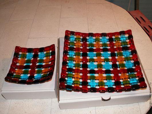 """Тарелки ручной работы. Ярмарка Мастеров - ручная работа. Купить Комплект тарелочек """"Шотландия"""". Handmade. Разноцветный, фьюзинг тарелка"""