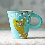 """Посуда ручной работы. Ярмарка Мастеров - ручная работа Котокружки """"Весна в душе"""". Handmade."""