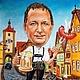 Шарж по фотографии `А у нас в Баварии...` Портретный шарж с сюжетом Сухая пастель, бумага 30х40 см Ручная работа Дружеский шарж