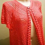 Одежда ручной работы. Ярмарка Мастеров - ручная работа Кардиган, накидка - Клара в кораллах. Handmade.
