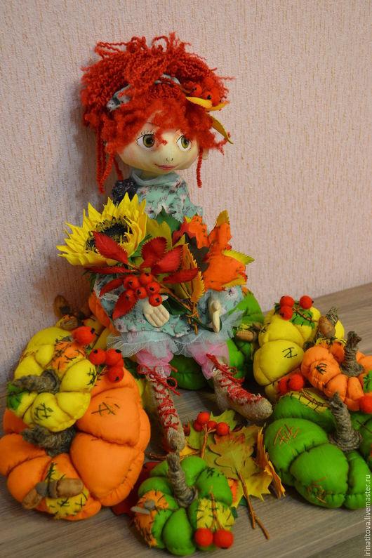 Коллекционные куклы ручной работы. Ярмарка Мастеров - ручная работа. Купить Кукла Грустная осень. Handmade. Рыжий, тыква, краски