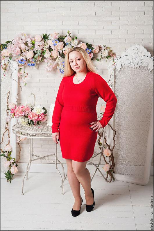 Платье вязанное красное. NK Style. Интернет-магазин Ярмарка Мастеров. Шерсть, полиэстер.