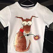 Работы для детей, ручной работы. Ярмарка Мастеров - ручная работа Детская футболка с ручной росписью красками по текстилю. Handmade.