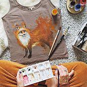 """Одежда ручной работы. Ярмарка Мастеров - ручная работа Футболка """"Акварельная лиса"""". Handmade."""