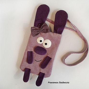 """Детская сумка-игрушка """"Зая"""" сиреневая через плечо"""
