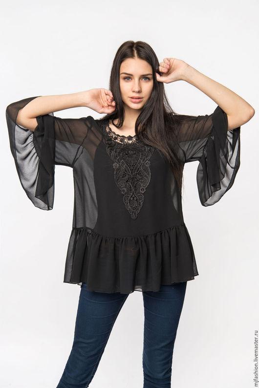 Блузки ручной работы. Ярмарка Мастеров - ручная работа. Купить Блузка прозрачная черная (арт. 3393). Handmade. Черный