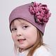 Шапки ручной работы. Ярмарка Мастеров - ручная работа. Купить Детская шапочка с цветами ручной работы. Handmade. Цветы из ткани