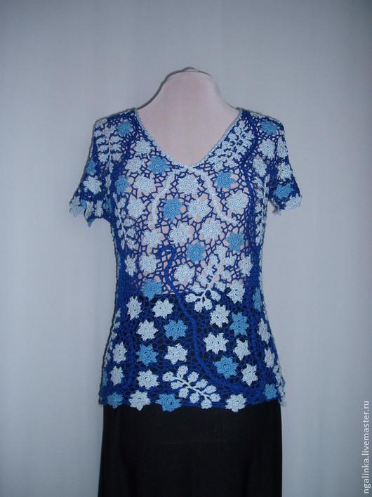 Кофты и свитера ручной работы. Ярмарка Мастеров - ручная работа. Купить блуза из хлопка с вискозой Раннее утро. Handmade. Цветочный
