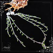 """Украшения handmade. Livemaster - original item Очень длинные серьги из хризолита """"Водопад"""". Handmade."""