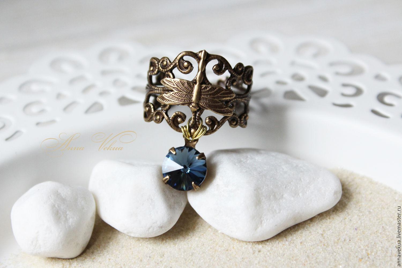 Ring 'Vintage, Swarovski-Denim Blue', Rings, St. Petersburg,  Фото №1