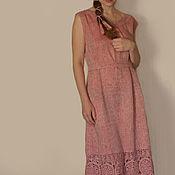"""Одежда ручной работы. Ярмарка Мастеров - ручная работа Льняное платье """"Пыльная  роза"""". Handmade."""