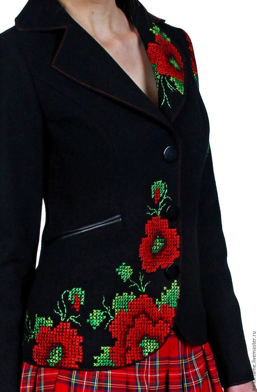 Пиджак черный с вышивкой