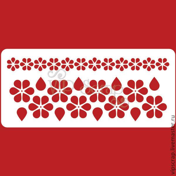 Декупаж и роспись ручной работы. Ярмарка Мастеров - ручная работа. Купить Трафарет Бордюры Простые цветочки 210х95мм T122012. Handmade.