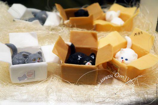 Мыло ручной работы. Ярмарка Мастеров - ручная работа. Купить Мыло котенок в коробке. Handmade. Комбинированный, мыло в подарок, котенок