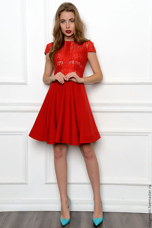 Платья ручной работы. Ярмарка Мастеров - ручная работа. Купить Платье. Handmade. Ярко-красный, платье с длинным рукавом