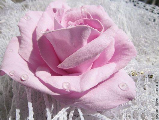 """Заколки ручной работы. Ярмарка Мастеров - ручная работа. Купить Невидимка """"Утренняя роза"""". Handmade. Розовый, цветы ручной работы"""