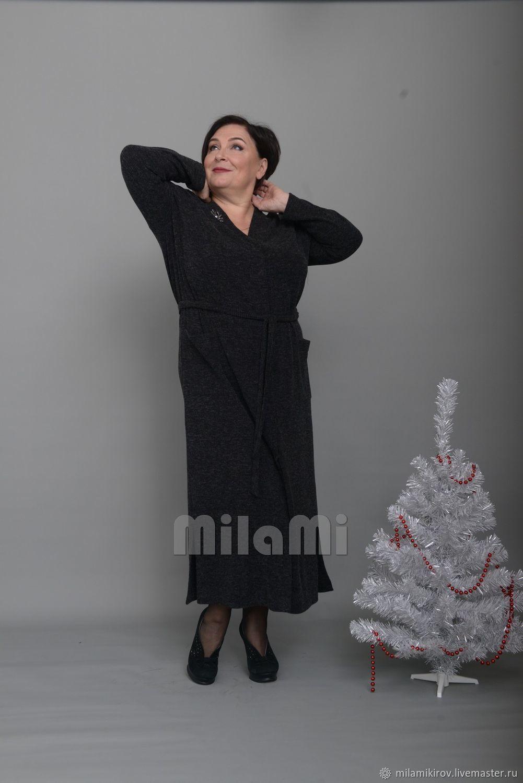 Платье из ангоры рибана, черный меланж Арт. 3941, Платья, Киров,  Фото №1