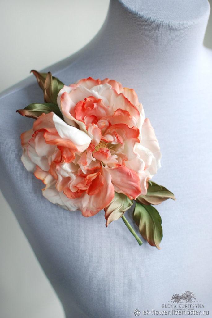 Silk flowers rose brooch lady flaym shop online on livemaster silk flowers rose brooch lady flaym silk flower mightylinksfo