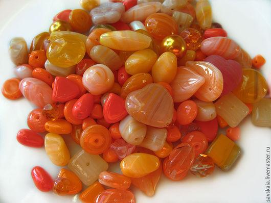 Бусины стеклянные микс Оранжевый, чехия, Preciosa