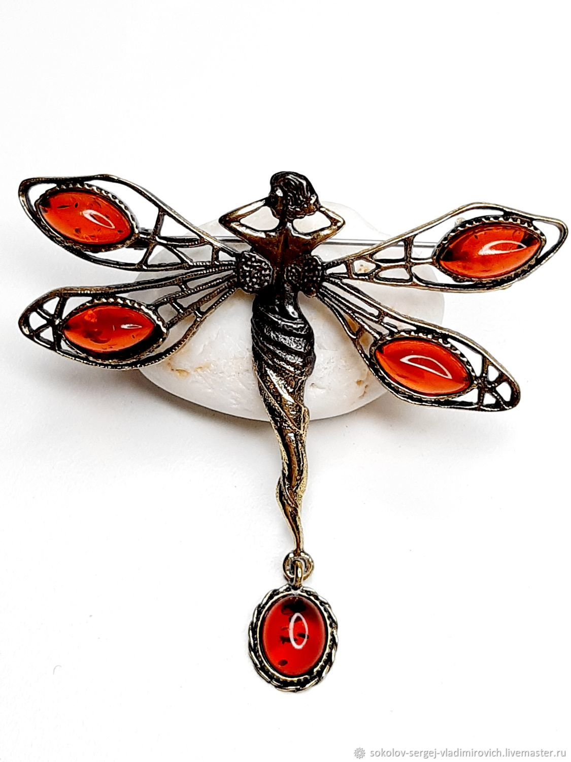 Dragonfly Fairy brooch with a bow, Brooches, Moscow,  Фото №1
