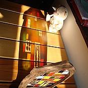 """Для дома и интерьера ручной работы. Ярмарка Мастеров - ручная работа витраж """"домик в деревне"""". Handmade."""