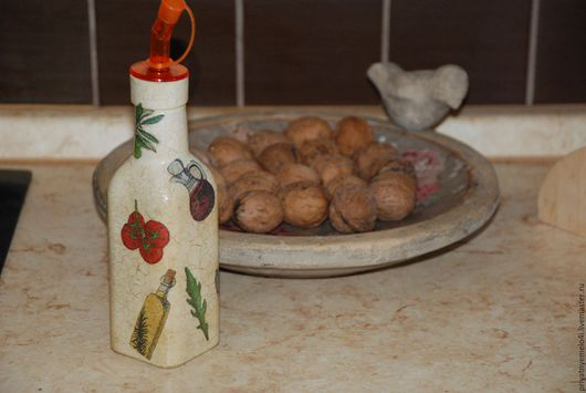 Кухня ручной работы. Ярмарка Мастеров - ручная работа. Купить Бутылка для масла. Handmade. Декупаж, для дачи, уютный подарок
