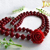 Украшения handmade. Livemaster - original item Mallorca. Necklace with red rose and pearls Mallorca. Handmade.